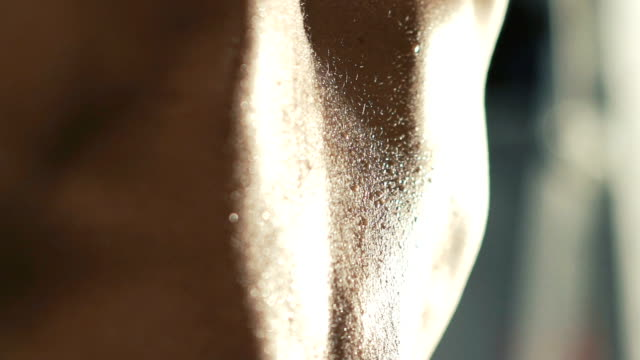 Back close up view of deliquescent bodybuilder trains on workout equipment video