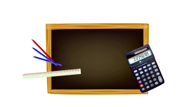 Back to school concept footage. Black board and school's accessories video