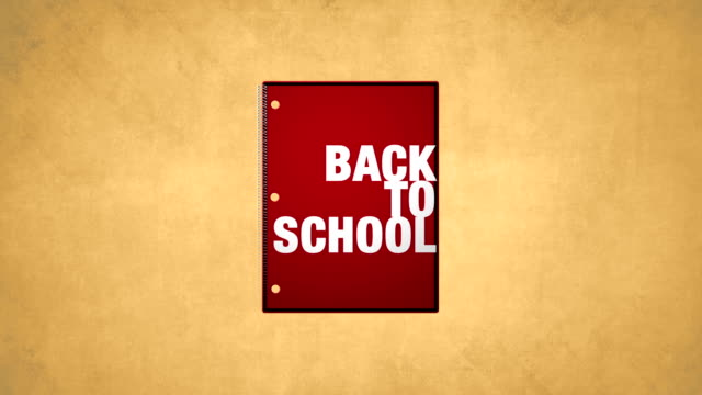 Back To School Red Notebook Animation HD video video