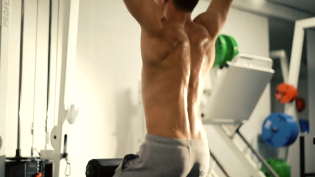 Back view of handsome bodybuilder trains on workout equipment video