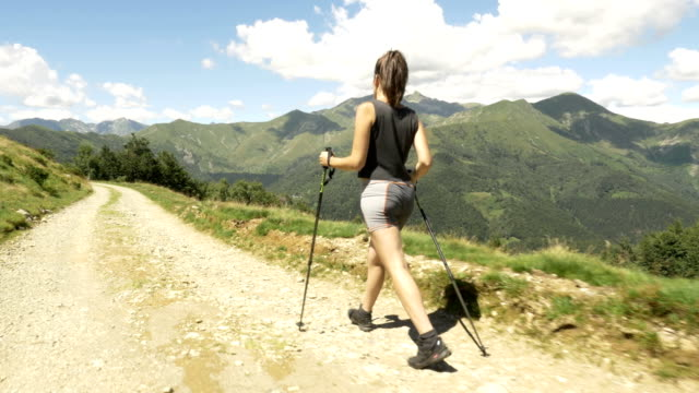 Back view of young woman doing nordic walking sport in nature outdoor mountain scenery during sunny summer day - gimbal steadicam HD video footage video