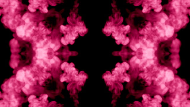 Background like Rorschach inkblot test12. Fluorescent pink ink or smoke, isolated on black in slow motion. Pink paint drop in water. For alpha channel use luma matte as alpha mask video