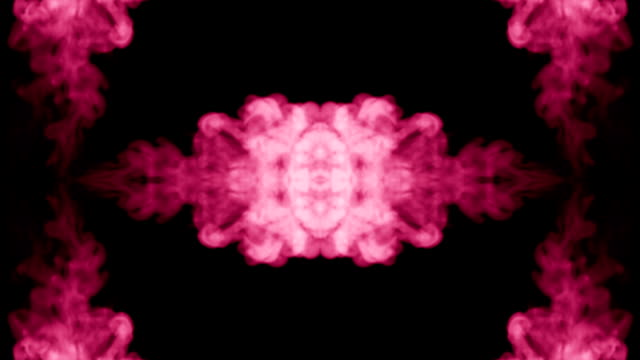 Background like Rorschach inkblot test3. Fluorescent pink ink or smoke, isolated on black in slow motion. Pink gouache drop in water. For alpha channel use luma matte as alpha mask video