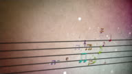 background musical score notes loopable video