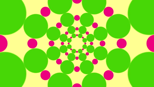 Background of black and white circles and dots spinning in a spiral video
