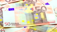 Background of euro banknotes video
