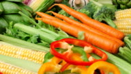 Background of fresh vegetables video