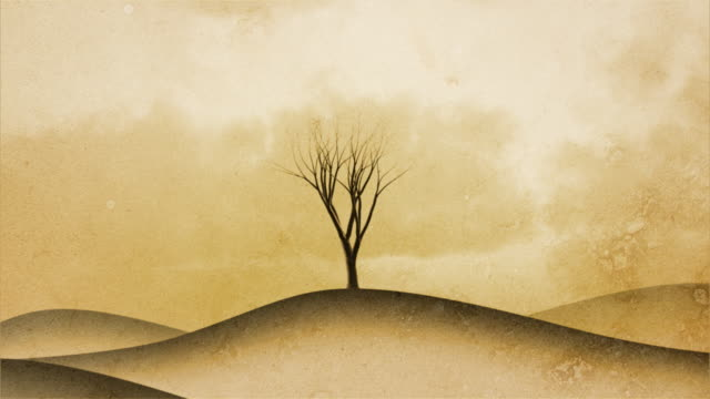 Background with tree growing, sepia toned. Object in the middle. video