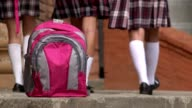 Backpack And Female Students Walking video