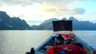 backpack bag on boat in Cheow Lan lake, Thailand video
