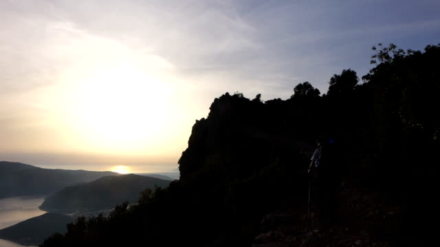 Backpacker is walking in the ancient trail in Antalya video