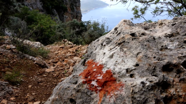 Backpacker is walking in the Lycian way in Antalya video