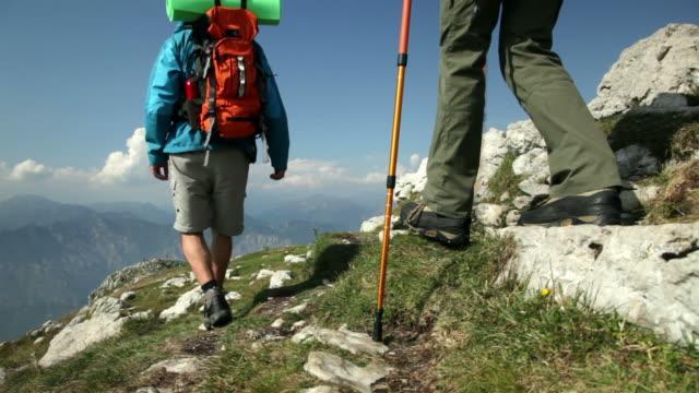 Backpacker walking video