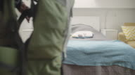 4K: Backpackers Entering Rented Apartment. video