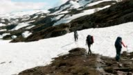 Backpackers in the snowy mountains. Norway video