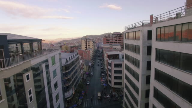 backward above street downtown la paz bolivia video