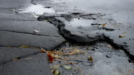 bad asphalt pit is big puddle rain outdoor road video