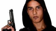 bad boy with gun on white background video