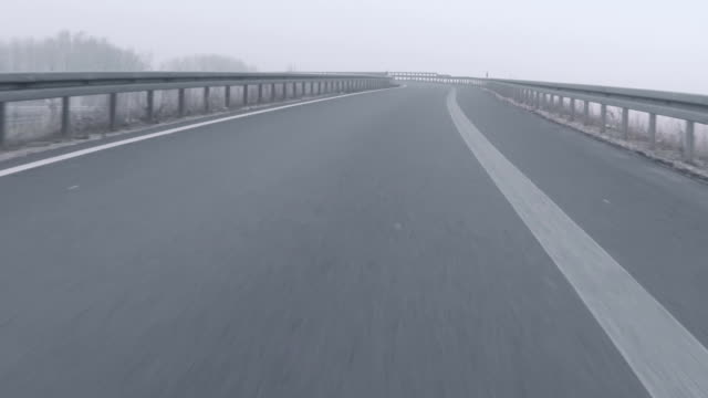 Bad weather driving - foggy expressway / motorway junction video