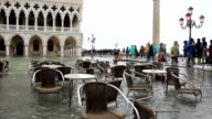 Bad weather in Venice - outdoor cafe flooding video
