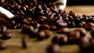 Bag with coffee beans falls and coffee beans are scattered video