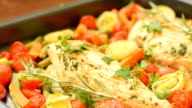 Baked chicken with basil, carrot and cherry tomatoes video