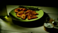 Baked pumpkin with addition aromatic herbs. Healthy food. Organic pumpkin dish video