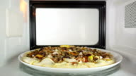 Baked seafood pizza Frutti di Mare reheating in microwave oven video