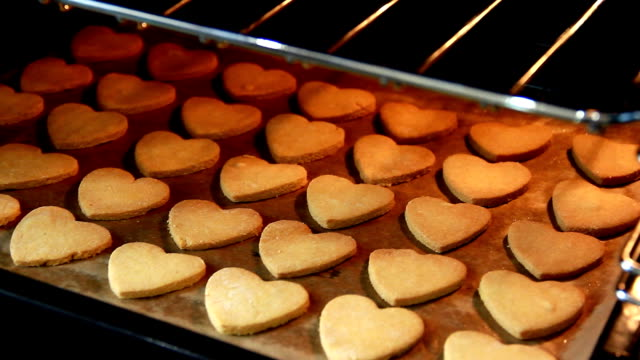 Baker checks the readiness of gingerbread in oven video