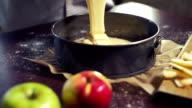 Baking cake. Cake batter pouring in baking pan. Home baking. Baking ingredients video