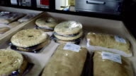 Baking on the shelf in the store Full HD video