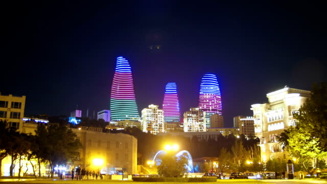 Baku Embankment, view of the Flame Towers, Azerbaijan. Time Lapse video