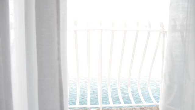 HD DOLLY: Balcony Curtains Fluttering In Wind video