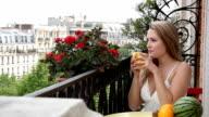 Balcony Paris Young Woman video