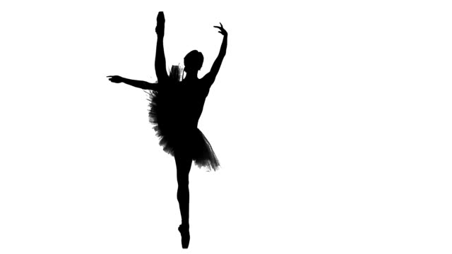 ballerina dancer in tutu showing her techniques, silhouette, slow motion video