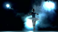 ballerina doing a workout in the classroom on blue video