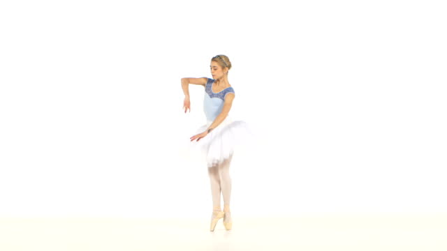 Ballerina is wearing  white tutu and pointe shoes video
