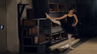 Ballerina stretching before going on stage video