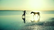 Ballerina with horse aesthetic walk on the water video