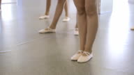 Ballerinas stand on floor which is covered with linoleum video