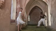 HD DOLLY: Ballet Performance In Castle Hallway video
