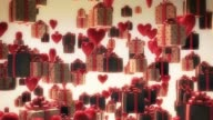 Balloons, Hearts, Candle, Flowers, Gifts Flying. video