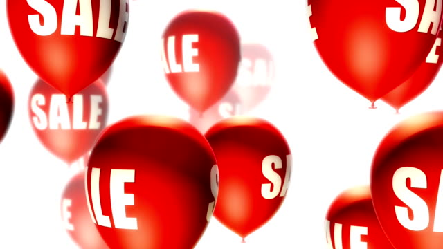 Balloons Sale Red on White (Loop) video