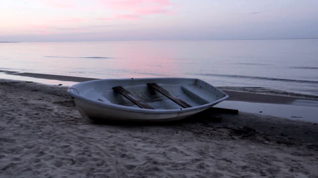 Baltic Sea and a fishing boat in Melnsils video