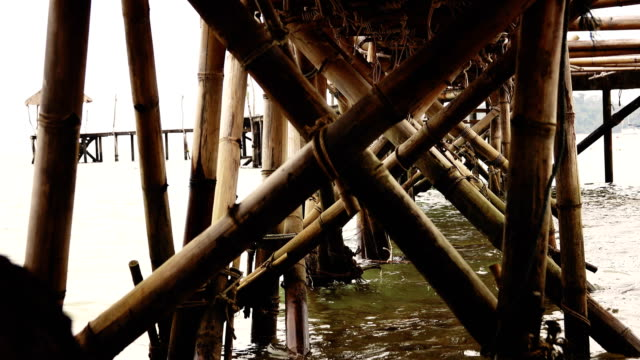 Bamboo bridge toward to the sea, Koh Mak, Province Trat in Thailand. video