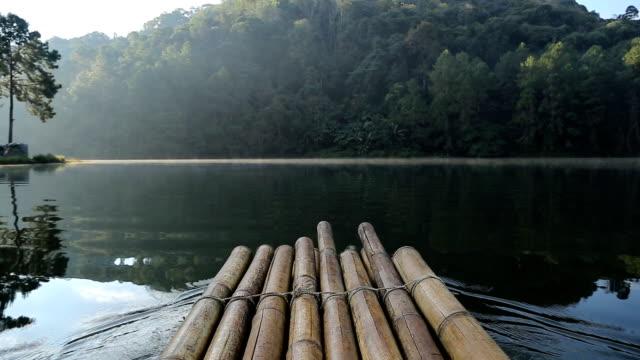 Bamboo raft in the morning at Pang Ung (Pang Tong reservoir) in Mae Hong Son, Thailand video