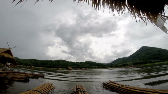 Bamboo rafts are floating video
