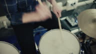 Band playing in their rehearsal studio: drum player video