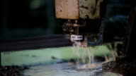 Band Saw - slow and very reliable way to cut metal. abundance of drops, mining oil,  oil-based lubricant and emulsion video