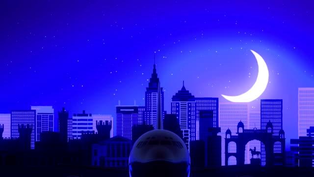 Bangalore India Airplane Take Off Moon Night Blue Skyline Travel video